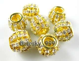 10pcs Gold Plated Crystal Rhinestone European Big Hole Bead 11.5mm