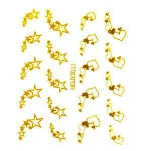 Gold Hearts/Stars Nail Stickers/Decals Beauty