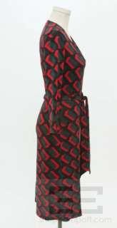 DVF Diane Von Furstenberg Red And Green Printed Silk Wrap Dress Size 6