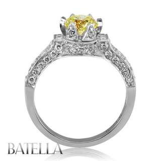 Estate1.51 Ct Natural Fancy Yellow VS2 Genuine Diamond Engagement Ring