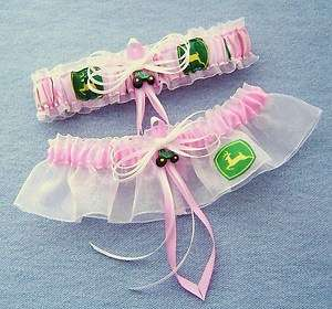 Pink John Deere Wedding Garter Set Green Tractor with Gift Box