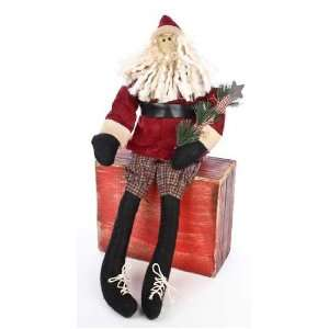 Bottom Sitting Primitive St. Nick Doll with Primitive Evergreen Pick