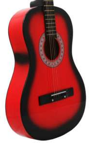 NEW RED Acoustic Guitar+PICK+STRING+LESSON