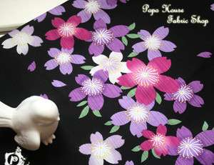 half yard New Japanese Asian Oriental fabric cloth of purple sakura