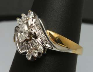 2ctw Marquise Diamond Two Tone 14k White & Yellow Gold Swirl