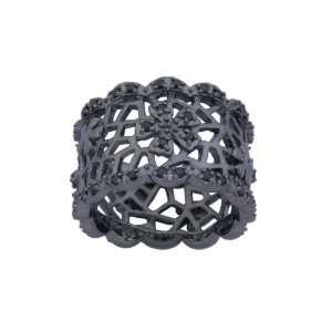 Sterling Silver Gunmetal Color Black Cubic Zirconia Filigree Ring