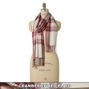 Naturally Knotty Luxurious Wraps,100% Bamboo Fiber, Plaid Cranberry