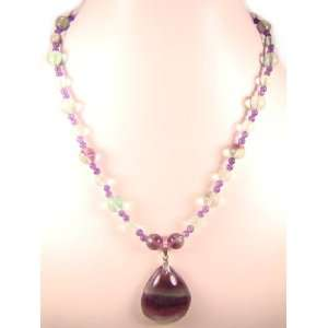 Pendant with Flourite Amethyst Natural Crystal Bead Necklace Jewelry