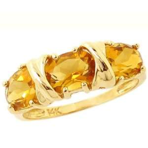 14K Yellow Gold Hugs and Big Kisses Oval Gemstone Ring Citrine, size8