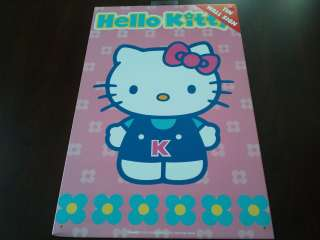 New Pink Hello Kitty Metal Tin Wall Sign – Hello Kitty & Flowers
