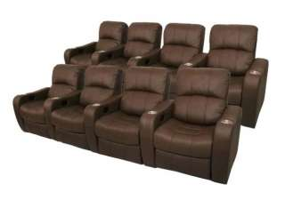 NEWPORT Home Theater Seating 8 Brown Power Recliner Chairs