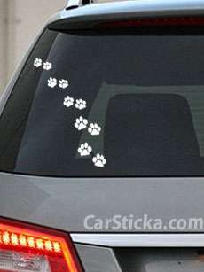 10 x Dog Cat Paw walking away car vinyl decal sticker A