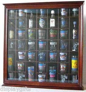 Display Case Holder Cabinet Shadow Box, w/ Glass Door, Solid Wood