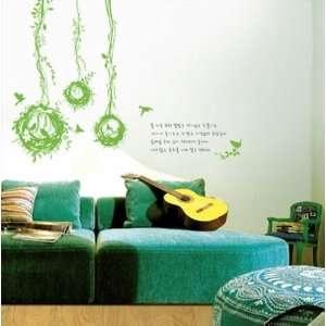 Modern House Birds Net removable Vinyl Mural Art Wall