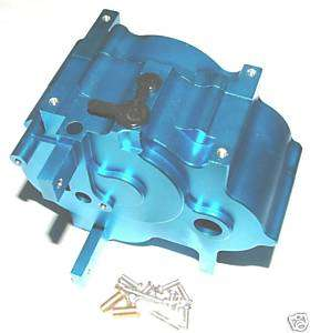 HPI SAVAGE 21,X,25,SS TRANSMISSION CASE BLUE ALUMINUM