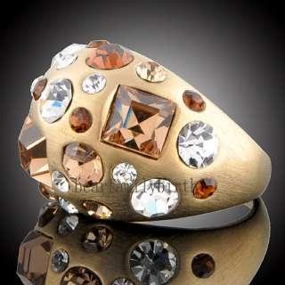 Noblest GOLD GP multi  Swarovski crystals ring R432