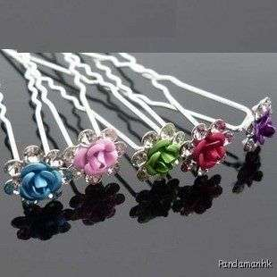Colorful Alloy Crystal Flower Rose Hair stick pin clip