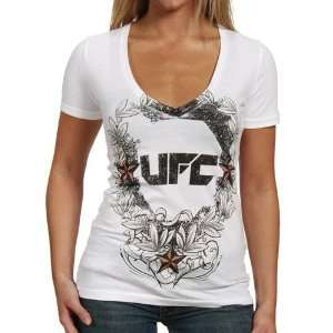 UFC Ladies White Laurel V Neck T shirt