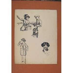 Seaside Girl Sketch Drawing Man Directions Fine Art Old