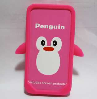 Hotpink Penguin Silicone Soft Case Cover For iPhone 4 4G 4S