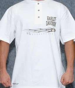 Harley Davidson Mens H D Under Flame Trail White Short Sleeve Henley T