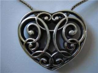 BRIGHTON STUNNING  LYRIC HEART  SILVER TONED NECKLACE RARE NWT
