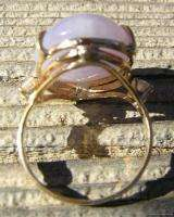 Estate 14k Yellow Gold Ring w Natural Lavender Jade w Diamonds
