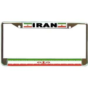 Iran Iranian Flag Chrome Metal License Plate Frame Holder