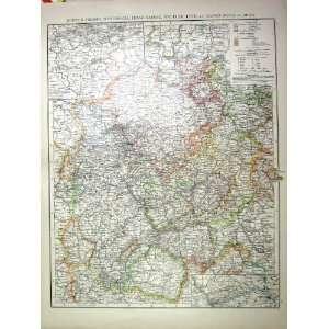 HESSE NASSAUE WALDECK LIPPE ANTIQUE MAP c1897 BELGIUM