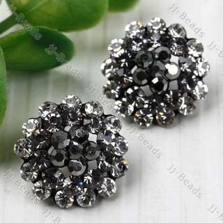 Stainless Steel Crystal Flower Lady Stud Earring 1P