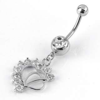 1PC 14ga Stainless Steel Dangle Heart Curved Barbell Belly Navel Ring
