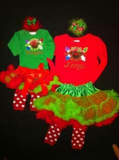 Reindeer with lights christmas girls, toddler, baby outfit set