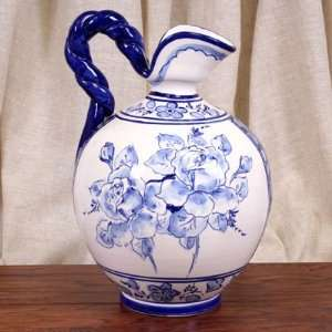 Blue Flower Hand Painted Jarra Decanter