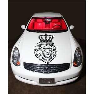 Lion with Crown Predator Animal Hood Vinyl Sticker Decals