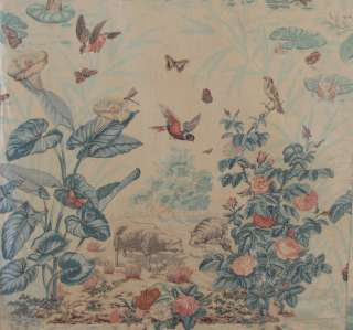 Antique French Curtain Large Scale Block printed drape Sheep Birds