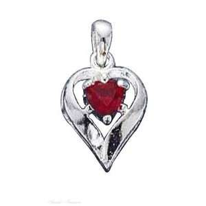 Sterling Silver July Birthstone Heart Charm Arts, Crafts