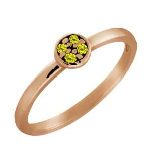 Round Canary Diamond Gold Plated Sterling Silver Ring Jewelry