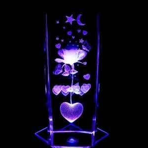 Rose with Hearts 3D Laser Etched Crystal includes Two Separate LEDs