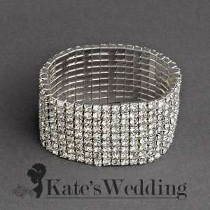 Bracelet 9 row Silver Tone   Ideal for Wedding, Prom, Party or Pageant