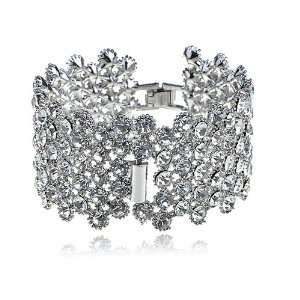 Clear Crystal Rhinestone Silver Tone Fancy Fashion Design
