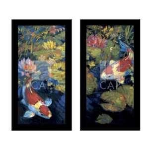 ASIAN SERENITY I & II Koi Fish art 2 Piece FRAMED SET