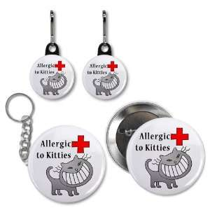 ALLERGIC TO CATS Medical Alert Button Zipper Charm Key Chain