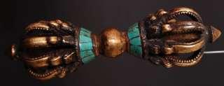 Pronged Bronze & Turquoise Lotus Vajra Dorje Tibet Buddhist lot
