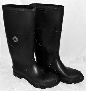 Bata Mens Tall Black Rubber Boots With Steel Shank Toes & Mid Soles Sz