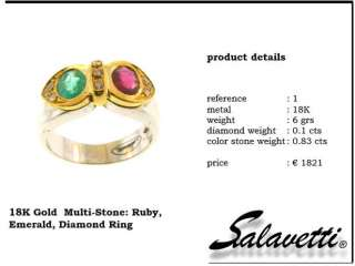 Salavetti Diamond Emerald Ruby 18k White Gold Ring
