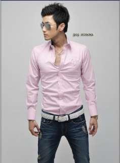 Men UK Style Slim Fit Long Sleeve Casual Shirts