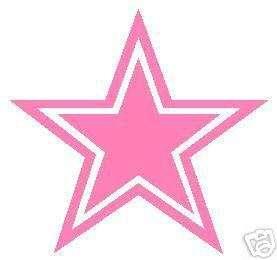 DALLAS COWBOYS VINYL STICKER PINK STAR 6 INCHES