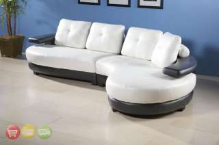 Modern Black White Leather Sectional Sofa Couch Chaise