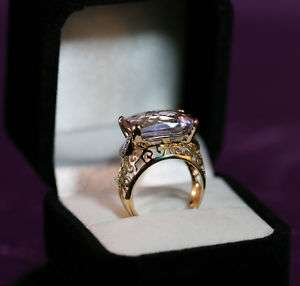 Brand New 14K Gold 9.40 CT. Fancy Pink Amethyst and SI Clarity Diamond