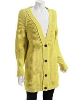Chloe yellow ribbed wool long cardigan
